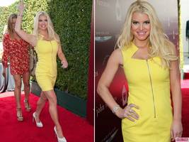 Super Slim Jessica Simpson Wows in Yellow Mini Dress at John Varvatos Benefit